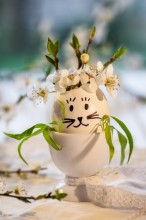 Fotografie květin, fotky květinových dekorací pro publikace na téma fotografie, květiny, kytky, dekorace, fotky, cherry blossom, decoration, easter, egg, egg holder, hare, indoor, nobody, spring, white, willow