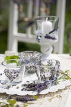 Fotografie květin, fotky květinových dekorací pro publikace na téma fotografie, květiny, kytky, dekorace, fotky, candle, candle holder, decoration, flower, garden, glass, glue, heart, lavender, nobody, outdoor, summer