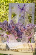 Fotografie květin, fotky květinových dekorací pro publikace na téma fotografie, květiny, kytky, dekorace, fotky, chair, flower decoration, garden, lilac, nobody, outdoor, pink, ribbon, spring, tray, violet, wedding