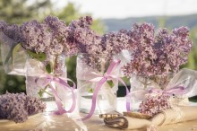 Fotografie květin, fotky květinových dekorací pro publikace na téma fotografie, květiny, kytky, dekorace, fotky, cutlery, flower decoration, garden, glass, lilac, nobody, outdoor, pink, ribbon, spring, vase