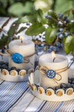 Fotografie květin, fotky květinových dekorací pro publikace na téma fotografie, květiny, kytky, dekorace, fotky, blue, blueberries, blueberry, button, candle, decoration, garden, hydrangea, light, metal dish, nobody, outdoor, rope, summer, table cloth, w