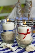 Fotografie květin, fotky květinových dekorací pro publikace na téma fotografie, květiny, kytky, dekorace, fotky, blue, candle, decoration, garden, glass, light, marine, nobody, outdoor, red, ribbon, sand, sea, seashell, shell, strip, summer, white