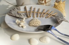 Fotografie květin, fotky květinových dekorací pro publikace na téma fotografie, květiny, kytky, dekorace, fotky, cutlery, decoration, fish, hand made, marine, nobody, outdoor, plate, sea, seashell, shell, summer, table, table setting, white, wood